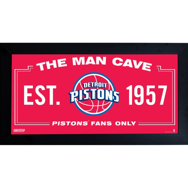 Detroit Pistons Man Cave Sign 6x12 Framed Photo