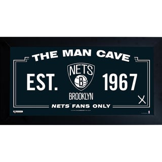 Brooklyn Nets Man Cave Sign 6x12 Framed Photo w/ Game used Net