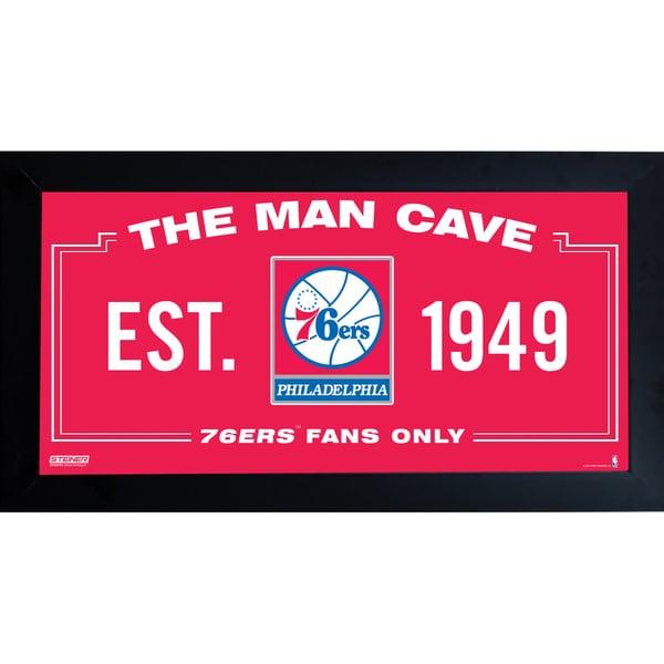 Philadelphia 76ers Man Cave Sign 6x12 Framed Photo