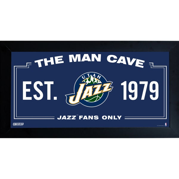 Utah Jazz Man Cave Sign 6x12 Framed Photo