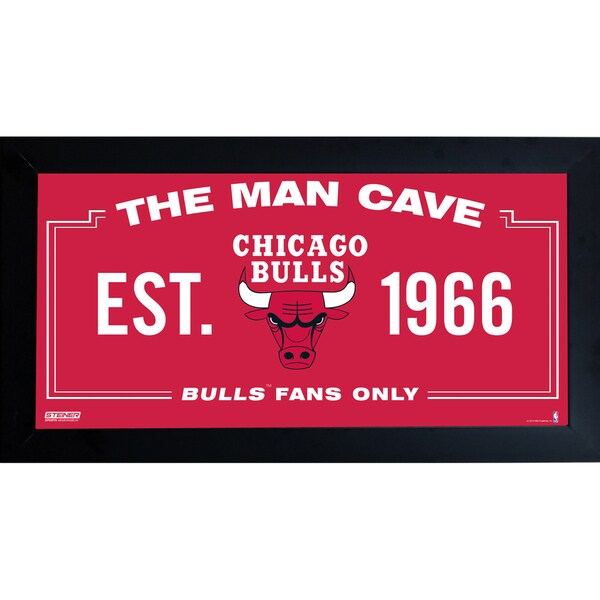 Chicago Bulls Man Cave Sign 6x12 Framed Photo
