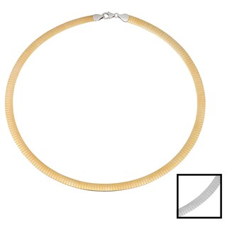 Fremada 14k Two-tone Gold 6-mm Reversible Omega Necklace (18 inches)