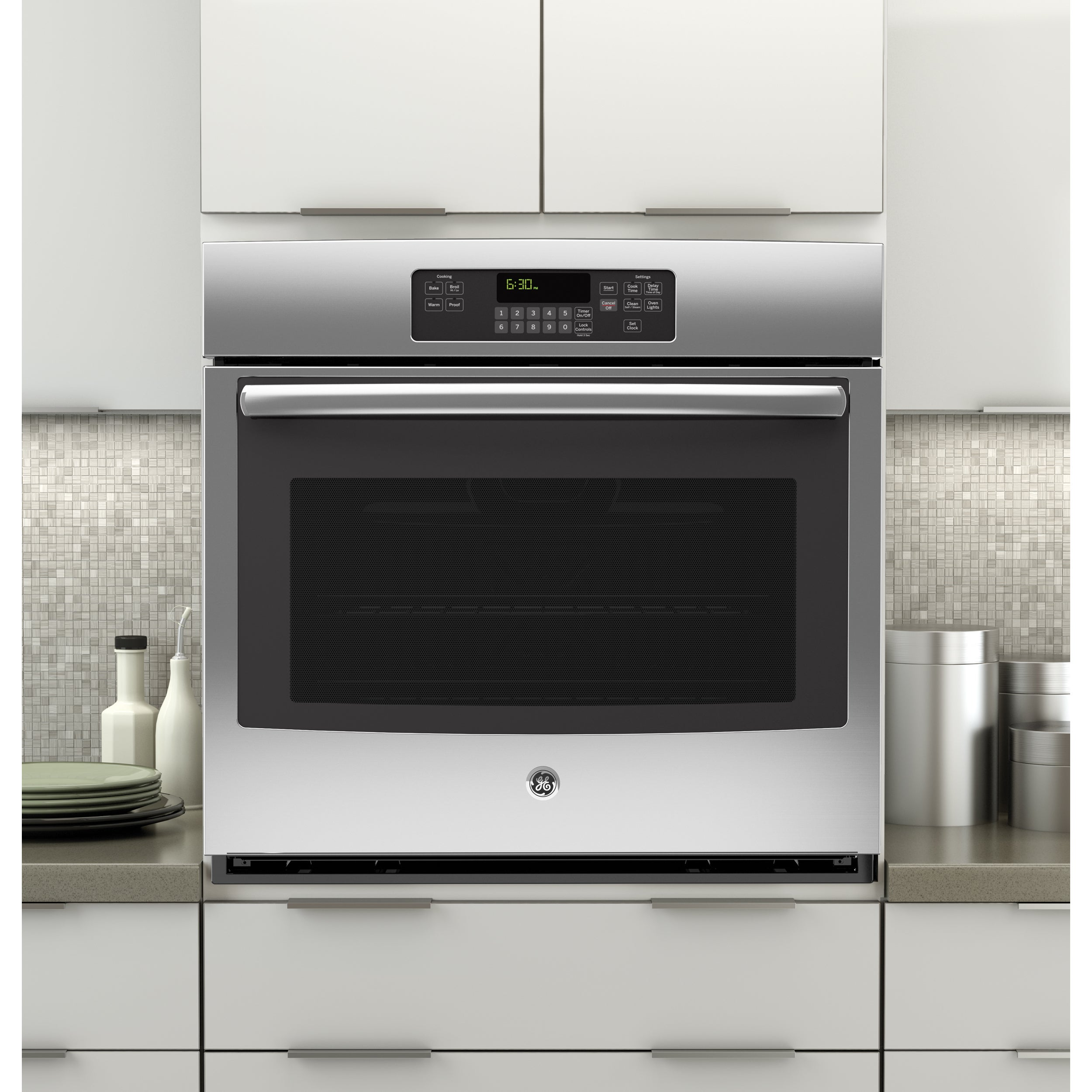 GE 30-inch Built-in Single Wall Oven (Black) (Stainless S...