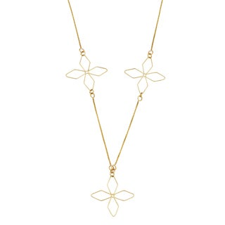 Fremada 10k Yellow Gold Charming Flower Station Adjustable Necklace