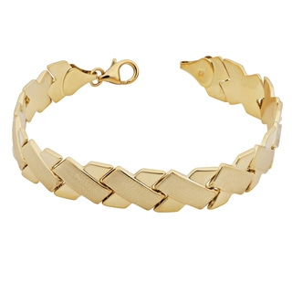 Fremada 14k Yellow Gold High Polish and Satin Finish 'x' Link Bracelet