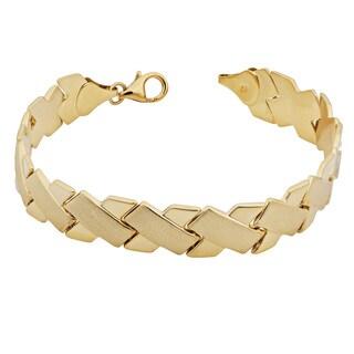 Fremada 14k Yellow Gold High Polish and Satin Finish 'x' Link Bracelet
