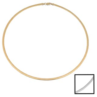Fremada 14k Two-tone Gold 3-mm Reversible Omega Necklace (16 inches)