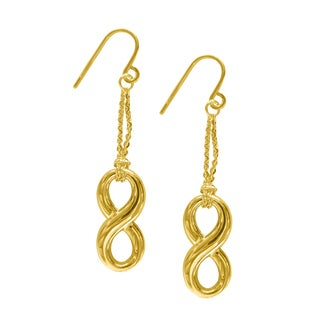 14k Yellow Gold Floating Infinity Charm Double-chain Dangling Drop Earrings