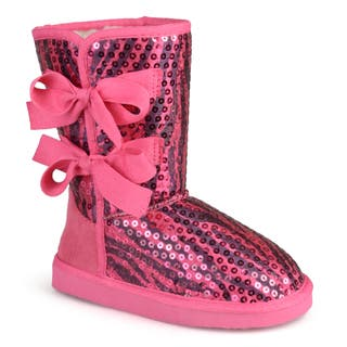 Journee Kid's 'K-Bow' Sequined Bow Boots|https://ak1.ostkcdn.com/images/products/10356104/P17464467.jpg?impolicy=medium
