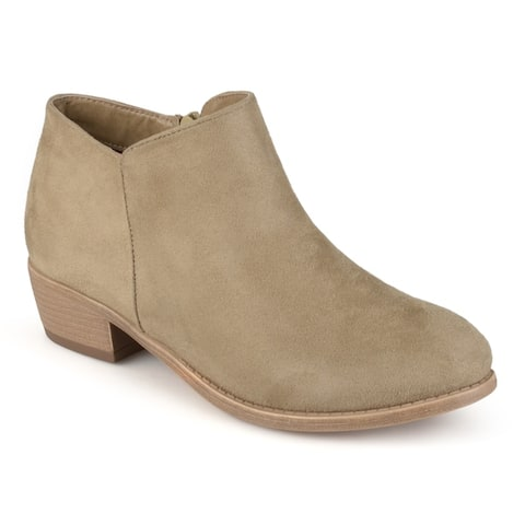 Journee Collection Womens Sun Faux Suede Heeled Booties