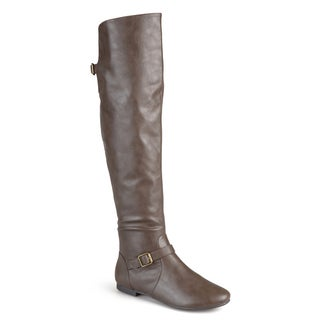 Journee Collection Women's 'Loft' Regular and Wide-calf Tall Round Toe Buckle Riding Boots