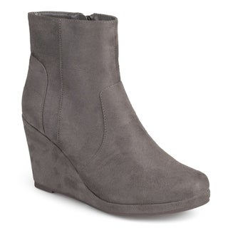 Journee Collection Women's 'Koala' Faux Suede Wedge Booties