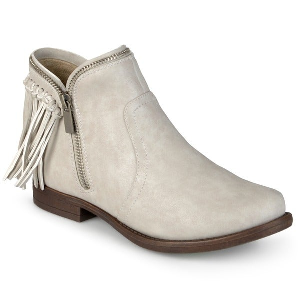 Journee Collection Women's 'Fringe' Black/Grey/Brown Faux Leather Almond Toe Fringed Booties