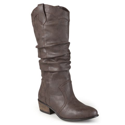Journee Collection Womens Drover Regular and Wide-calf Slouch Faux Leather Riding Boots