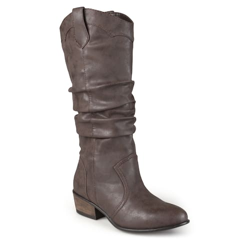 52971fcdb08 Journee Collection Women's 'Drover' Regular and Wide-calf Slouch Faux  Leather Riding Boots
