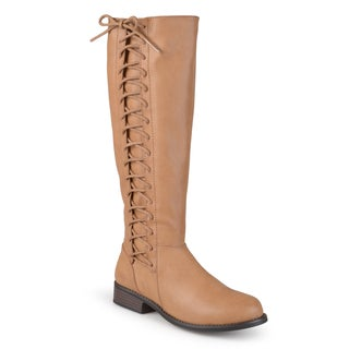 Journee Collection Women's 'Cinch' Regular and Wide-calf Round Toe Side-lace Riding Boots