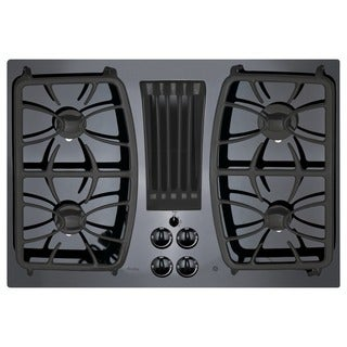 GE Profile Series Black 30-inch Built-in Gas Downdraft Cooktop