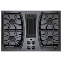 GE Profile Series Black 30-inch Built-in Gas Downdraft Cooktop