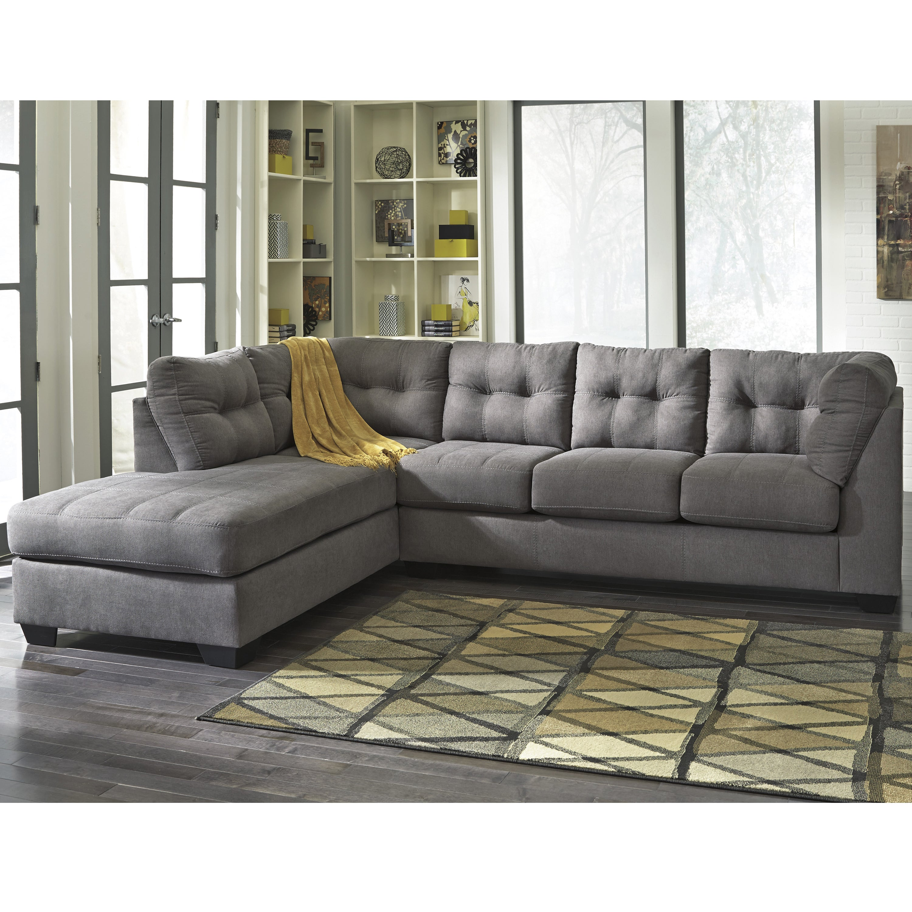 Clay Alder Home Wells Microfiber Sectional With Left Side Facing Chaise  (Option: Charcoal)