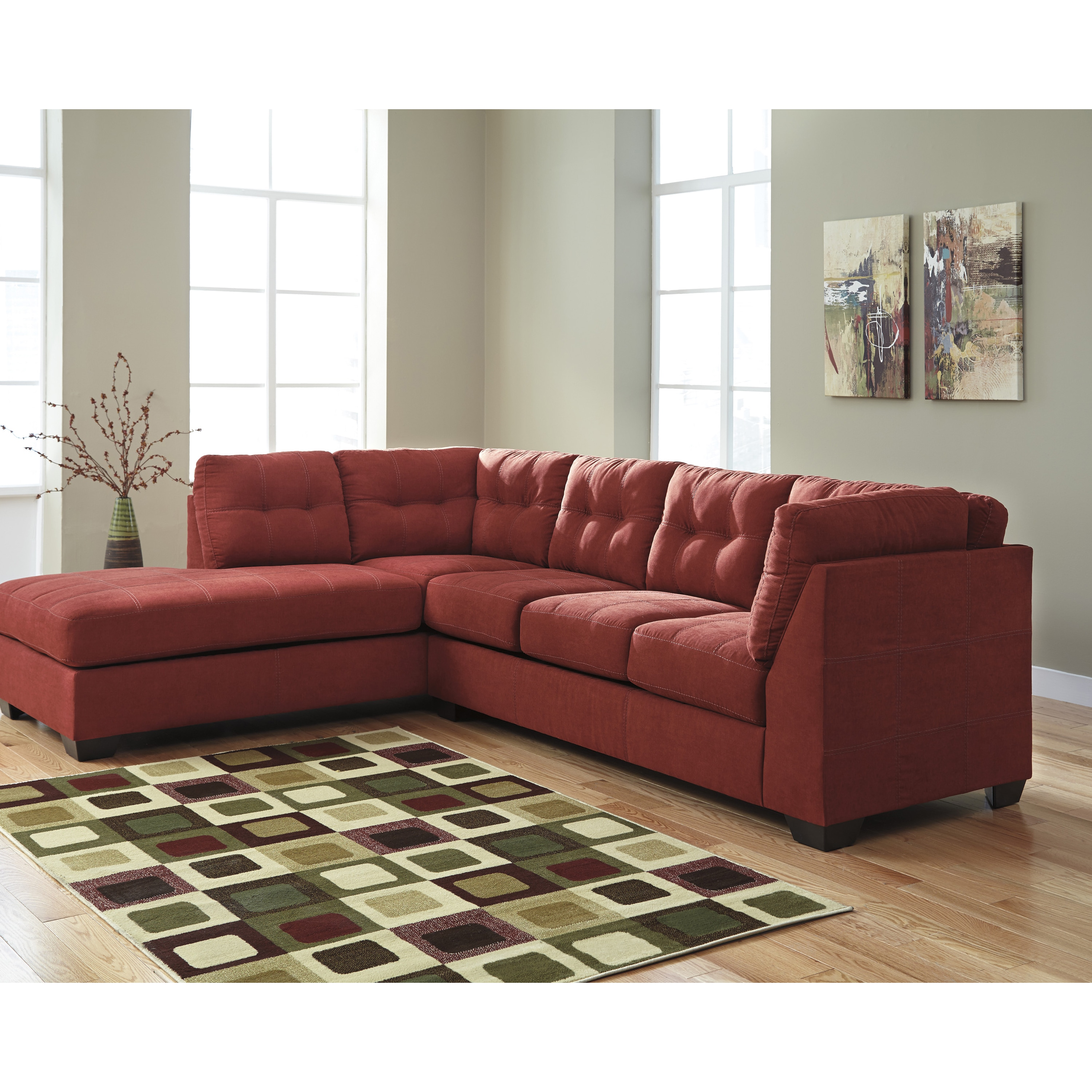 Clay Alder Home Wells Microfiber Sectional With Left Side Facing Chaise  (Option: Red)