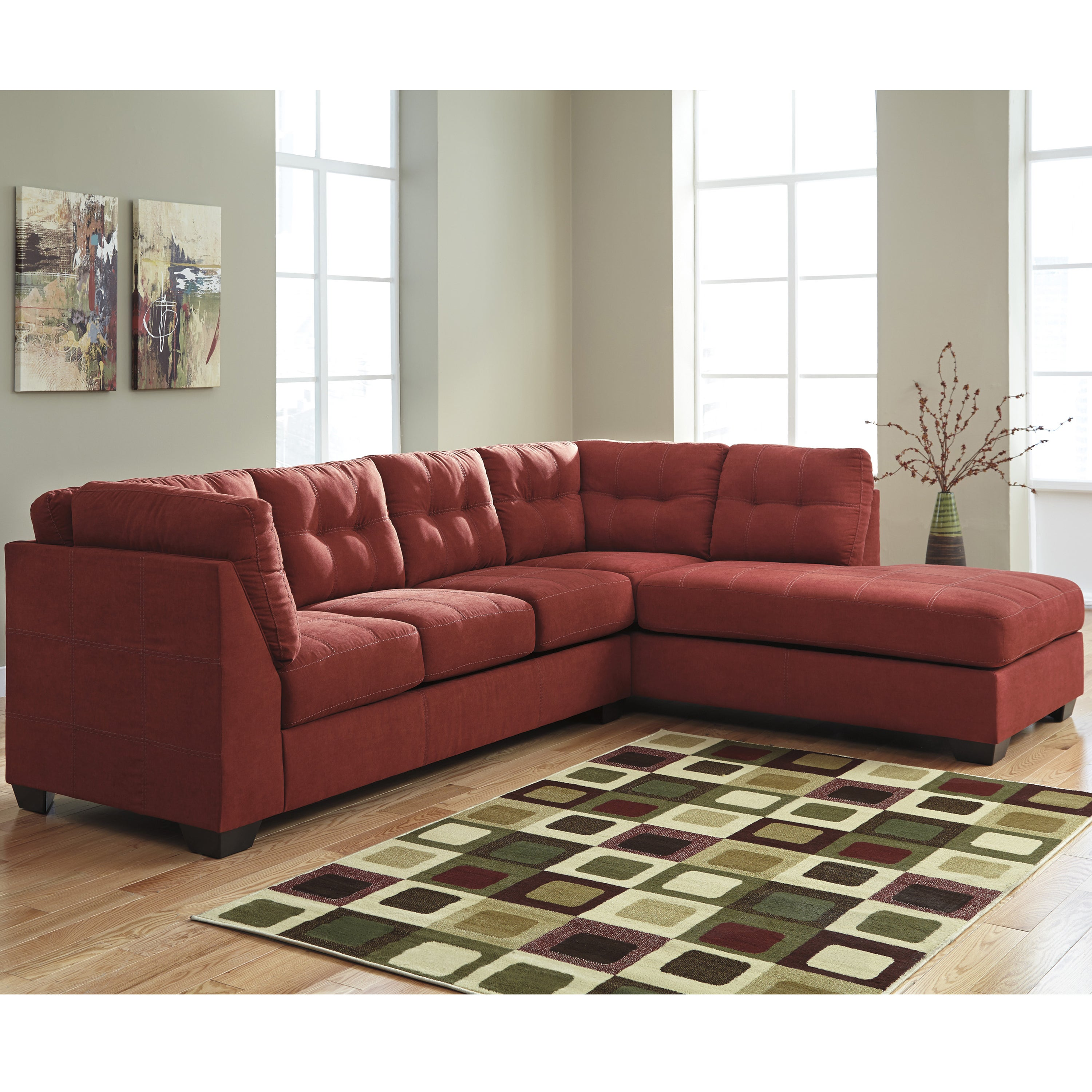 Benchcraft Maier Microfiber Sectional Sofa With Right Side Facing Chaise  (Option: Red)