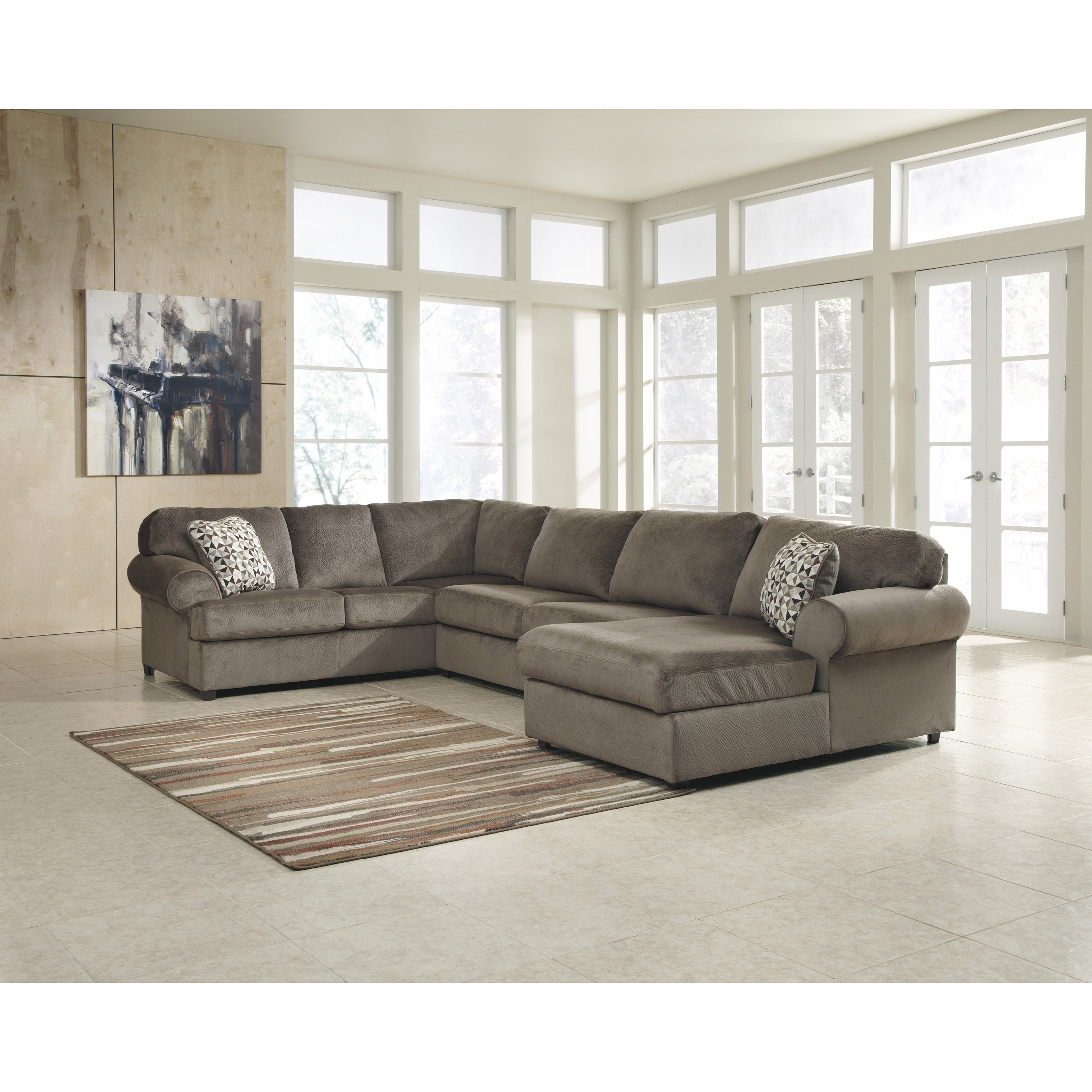 Porch Den Wells Oversized Fabric Sectional Sofa