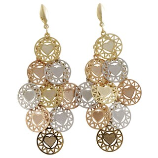 Luxiro Tri-color Gold Finish Halo Hearts Chandelier Dangle Earrings