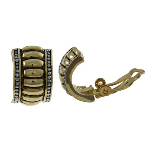 Luxiro Tri-color Gold Finish Channel Clip-on Earrings - Silver