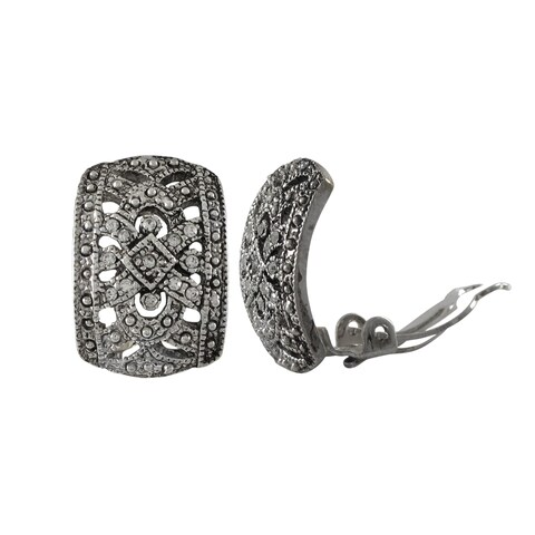 Luxiro Rhodium-plated Pave-set Crystal Filigree Clip-on Earrings - Silver