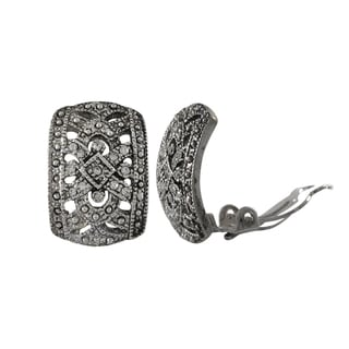 Luxiro Rhodium Finish Pave Crystals Filigree Oval Huggie Clip-on Earrings