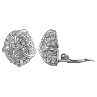 Luxiro Rhodium Finish Pave Crystals Curved Oval Clip-on Earrings