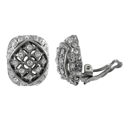 Luxiro Rhodium Finish Pave Crystals Curved Oval Clip-on Earrings - Silver