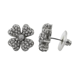 Luxiro Rhodium Finish Pave Crystals Four-leaf Clover Stud Earrings