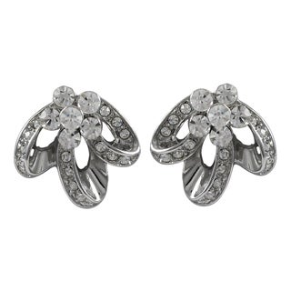 Luxiro Rhodium Finish Pave Crystals Flower Ribbon Stud Earrings