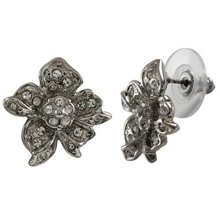 Luxiro Rhodium Finish Pave Crystals Flower Stud Earrings