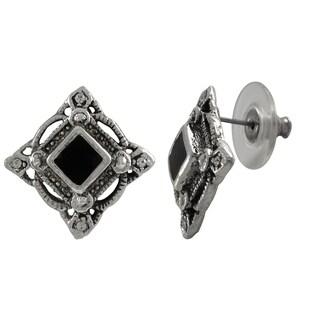 Luxiro Rhodium Finish Pave Crystals Black Enamel Square Stud Earrings