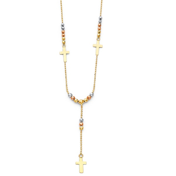 14k Tri-tone Beaded Lariat Religious Cross Rosary Style Necklace
