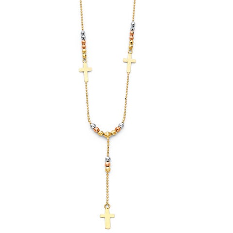 14k Tri-tone Beaded Lariat Religious Cross Rosary Style Necklace