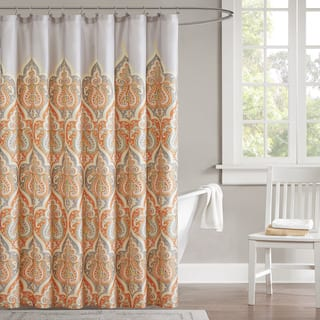 orange and brown shower curtain. Madison Park Leah Cotton Shower Curtain  3 Color Options Option Orange Curtains For Less Overstock com Vibrant Fabric