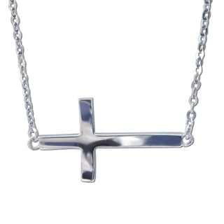14k White Gold Floating Sideways Cross Charm Necklace