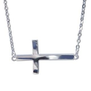 14k White Gold Floating Sideways Cross Charm Necklace