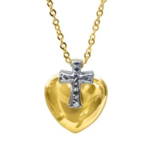 14k Yellow Gold Double Sided Diamond-cut Cross and Heart Necklace