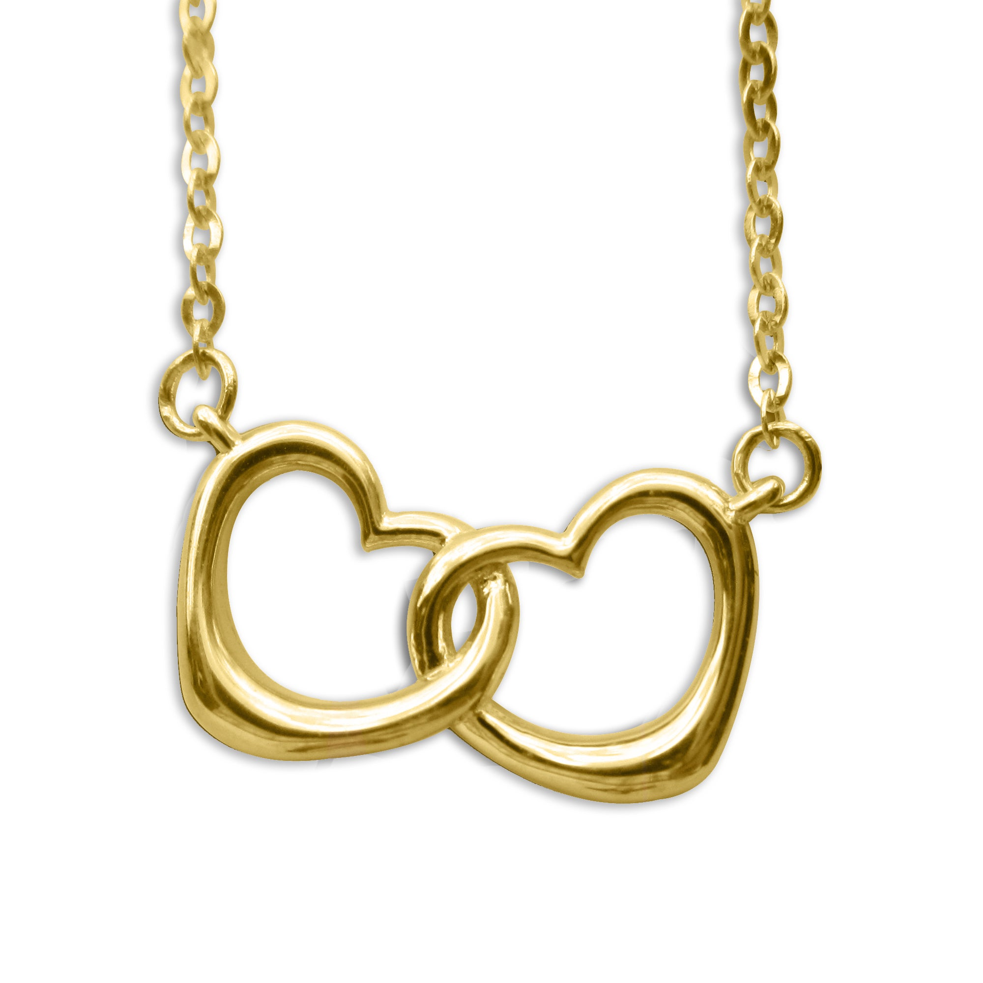 14k Yellow Gold Small Linked Hearts Floating Necklace, Wo...