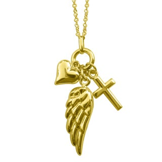 14k Yellow Gold Dangling Heart, Cross and Angel Wing Charm Necklace