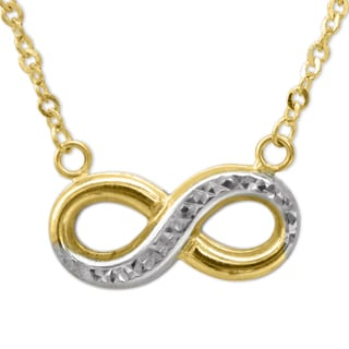 14k Two-tone Gold Floating Diamond-cut Infinity Charm Necklace
