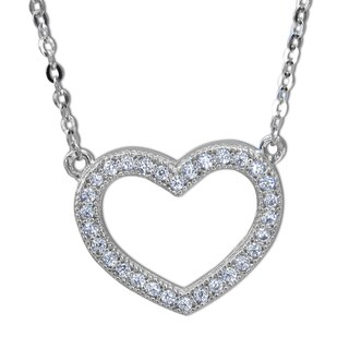14k Yellow Gold Pave-set Cubic Zirconia Open Heart Floating Necklace