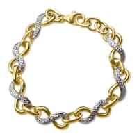 14k Two-tone Gold Faceted-cut Infinity Charm Link 7 inch Bracelet