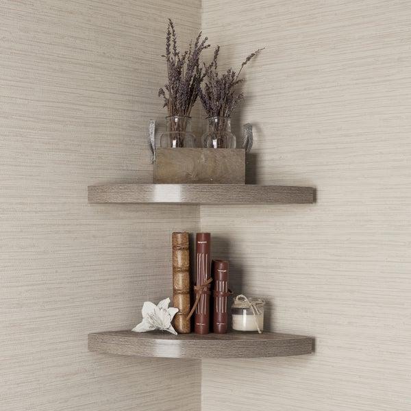 Danya B™ Rustic Weathered Oak Corner Radial Shelves (Set of 2)