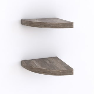 Danya B Rustic Weathered Oak Corner Radial Shelves (Set of 2)
