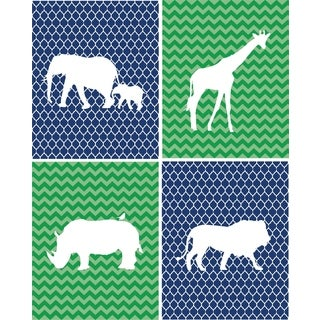Rocket Bug Safari Animals Nursery Wall Art Set